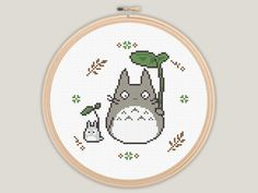 Modern My Neighbour Totoro - Ghibli Cross Stitch - PATTERN