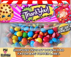 Shopkins Favor Bag Label, decoration, photo invitation, birthday, supplies, party, printable, Shopkins, invitation, Invite, instant download by PixElationDesigns on Etsy https://www.etsy.com/listing/245400006/shopkins-favor-bag-label-decoration