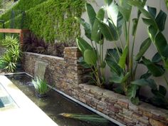 Water feature over dry stone wall