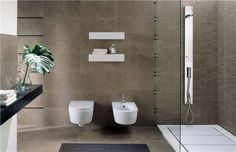 Store fliser til små bad - ifi.no Scandinavian Bathroom, Minimalist Scandinavian, Scandinavian Home, Modern Bathroom Design, Modern Interior Design, Bathroom Inspiration, Interior Inspiration, Artistic Tile, Latest Design Trends