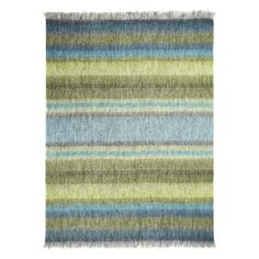 Designers Guild Santafiora Azure Throw: Wrap yourself in this luxurious brushed mohair throw with wide bands of colour in rich blue and emerald shades. This throw is finished with a fringed edge. Size: 190 x Materials: Brushed Mohair Tricia Guild, Mohair Throw, Burke Decor, Designers Guild, Luxury Home Decor, Teal Green, Branding Design, House Design, Interior Design