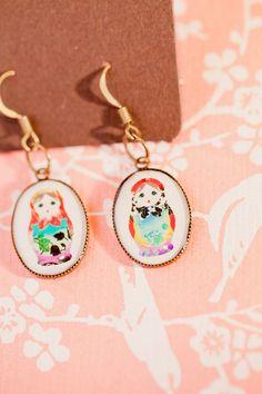 Matryoshka doll earrings cute!