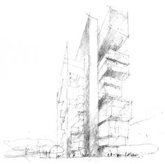 Drawing of Denton Corker Marshall's Manchester Civil Justice Centre. Image © Denton Corker Marshall