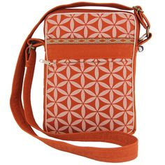 Flower of Life Festival Bag Terracotta/Cream - Global Groove (B). Made in Thailand, this 9 inch tall x 6.5 inches wide x 1.5 inches deep bag with a clip-on pom pom and seed toggle has two outer pockets, one with a zipper closure, and one inside pocket. Easy-wipe-clean and easy-see lining and 40-inch adjustable strap.
