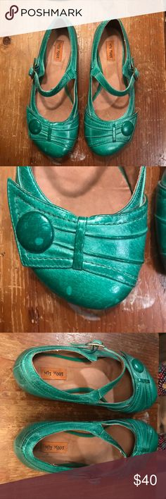 Miz Mooz Green Mary Janes Great condition.  Comfy shoe.    Just a few discolored dots on the right shoe's button. Miz Mooz Shoes Flats & Loafers