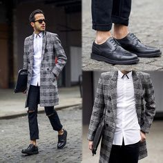 2015-01-12のファッションスナップ。着用アイテム・キーワードはコート, サングラス, チェスターコート, ドレスシューズ, バッグ, 白シャツ, 黒パンツ,etc. 理想の着こなし・コーディネートがきっとここに。  No:83142