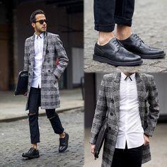 2015-01-12のファッションスナップ。着用アイテム・キーワードはコート, サングラス, チェスターコート, ドレスシューズ, バッグ, 白シャツ, 黒パンツ,etc. 理想の着こなし・コーディネートがきっとここに。| No:83142
