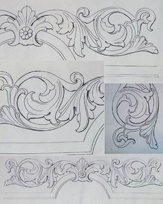drawings patterns for carving in leather Wood Carving Patterns, Carving Designs, Molduras Vintage, Ornament Drawing, Images Vintage, Leather Carving, Scroll Design, Leather Pattern, Motif Floral