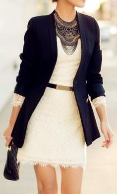 lace dress navy blazer statement necklace....STATEMENT NECKLACE IS A BEAST! :-)