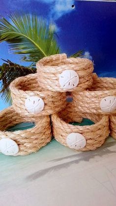 Nautical beach rope napkin rings with white sand dollars 6 pc set coastal home decor napkin holders kitchen dining room table or bar accents