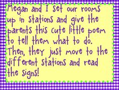 Send parents through a series of stations on open house night