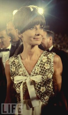 Audrey Hepburn, then 46, arriving at the Oscars.