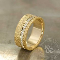 Organic Texture Radiant Diamond Band Ring in by JulietAndOliver