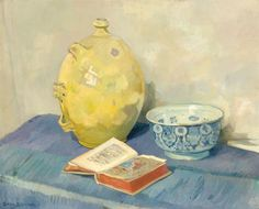 Still life with yellow jar, earthenware bowl and a book of hours by Gerrit Willem van Blaaderen