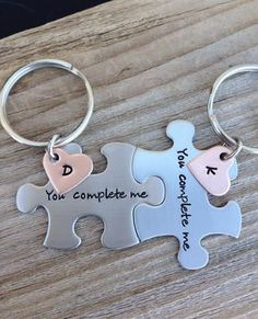 puzzle piece key chains his and hers you complete me gift for him gift for her Boyfriend Gift Husband Gift by CMKreations on Etsy https://www.etsy.com/listing/174593571/puzzle-piece-key-chains-his-and-hers-you