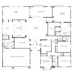 My favorite house plan. I would make bedroom 4 the laundry and the laundry room would be a mudroom. Game room would be an outdoor kitchen/bar. I love the master walk in closet. Master tub would have to be situated up against the wall and I would add a vanity/dressing table inside the WIC. - LjKoike