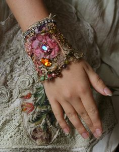 Venice sunset- romantic shabby chic wrist cuff -antique laces,  hand  beaded