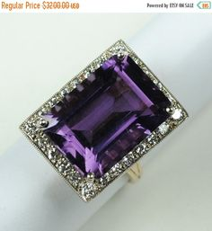 Hey, I found this really awesome Etsy listing at https://www.etsy.com/listing/211841146/on-sale-large-amethyst-and-diamond-ring