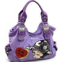 Large Betty Boop® shoulder bag with rhinestone brooch accent - FREE SHIPPING