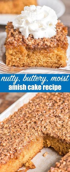 An easy, 1-bowl, 9x13 cake with that is extra moist. This Amish cake recipe has a butter, brown sugar & nut topping that bakes into the top of the cake. Amish Cake {Easy 9x13 Cake Recipe with Butter & Nut Topping} via #cake #amish #nutcake