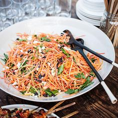 Moroccan Carrot Salad with Spicy Lemon Dressing | Susan Feniger likes to make this salad early in the day, so the carrots marinate a bit in the dressing. Harissa, the North African chile paste, adds fiery heat.