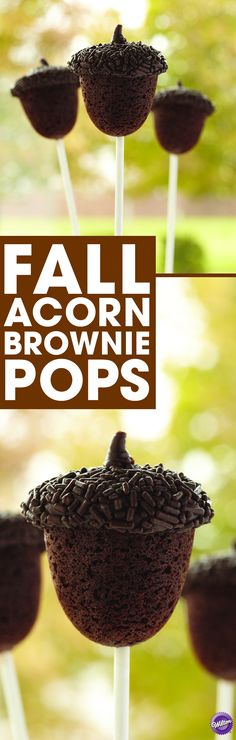 How to Make Acorn Brownie Pops - From a small acorn, great fall celebrations grow! Use your favorite brownies and top with Candy Melts candy and dark brown jimmies for a welcome treat throughout the season.