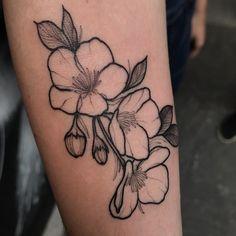 Feita na Carol, flash day @cafepretotattoo ❤️ Basic Tattoos, Mini Tattoos, Potato Tattoo, Flower Tattoo Drawings, Blossom Tattoo, Little Tattoos, Body Modifications, Tattoo Inspiration, Blackwork