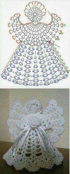 23 Ideas Crochet Christmas Angel Ornaments For 2020 Crochet Christmas Decorations, Crochet Christmas Ornaments, Christmas Crochet Patterns, Holiday Crochet, Crochet Snowflakes, Angel Ornaments, Christmas Snowflakes, Christmas Angels, Crochet Angel Pattern