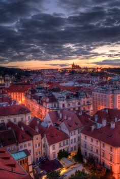 Prague at sunset, Czech Republic
