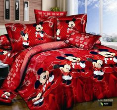 """HOT PRICES FROM ALI - Buy Cotton bed linen mickey mouse bedding sets minnie kids duvet cover kingqueentwin size bedspread Red happy bedding"""" from category """"Home & Garden"""" for only USD. Mickey Minnie Mouse, Mickey Mouse Quilt, Minnie Mouse Bedding, Mickey Mouse Bedroom, Disney Bedding, King Size Bed Linen, Bed Linen Sets, Casa Disney, Deco Disney"""