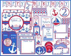 Blue and Red Nautical Theme Invitation and Party Packages