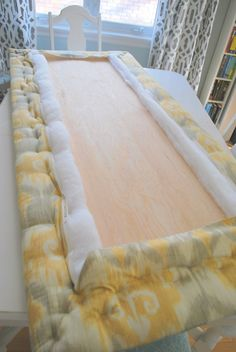 DIY an upholstered headboard: the easy how-to guide - the sweetest digs  http://thesweetestdigs.com/2012/05/14/the-diy-files-upholstered-headboard-how-to/