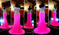 Hot Pink/Nude Jersey One Shoulder Prom or Pageant Dress-Illusion Beaded at Rsvp Prom and Pageant, Atlanta, GA Pink Prom Dresses, Beautiful Prom Dresses, Pageant Dresses, Homecoming Dresses, Pretty Dresses, Sexy Dresses, Evening Dresses, Formal Dresses, Illusion Dress