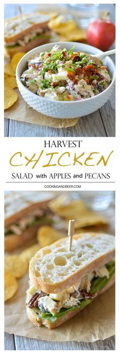 Harvest Chicken Salad with Apple and Pecans | www.cookingandbeer.com | Cooking and Beer