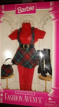 NEW 1996 Collectors Barbie Fashion Avenue Plaid Jumper Boots Bag Tights NRFB #Mattel