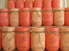 Rustic Wedding Painted Mason Jars