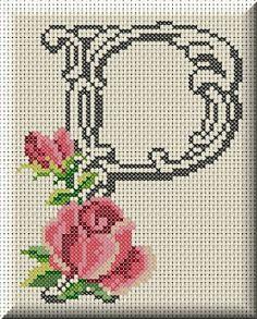 Inspiring recommendations that we really love! Monogram Cross Stitch, Cross Stitch Alphabet Patterns, Mini Cross Stitch, Cross Stitch Rose, Cross Stitch Flowers, Cross Stitch Charts, Cross Stitch Designs, Cross Stitching, Cross Stitch Embroidery