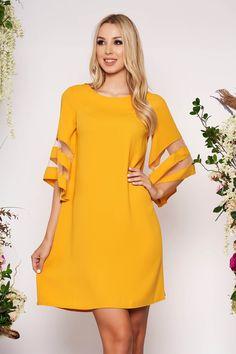 Reduceri rochii -70% - preturi reduse - Rochii Romania Cold Shoulder Dress, Dresses With Sleeves, Yellow, Long Sleeve, Floral, Fashion, Moda, Sleeve Dresses, Long Dress Patterns