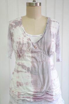 Features:    Pretty& delicatecami   Scalloped raw edges   Tiny button detail   Side ties   Cotton/Silk Satin, Lilac Burst Tie Dye   Fits sizes 2-12