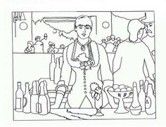 Art appreciation coloring pages - tape to shrinky dink page. color. punch holes two holes in one side for a book. Shrink. Make a book of famous art - colored by you.