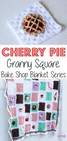 Crochet Cherry Pie Granny Square: Bake Shop Blanket Series | Free Pattern from Sewrella