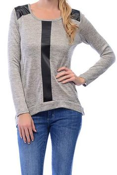 Leather Shoulder Grey Sweater #longsleeve #faux #cowl neck #dressy #charcoal #faux