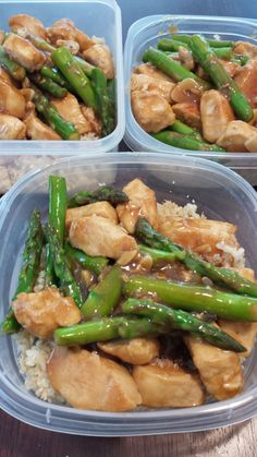 Make Ahead Lunch Recipe-- Lemon Chicken & Asparagus served on top Quinoa and Cauliflower Rice Mixture!