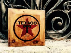 Excited to share the latest addition to my #etsy shop: Texaco Old Route Sign Home Decor Wall Art Wooden Picture