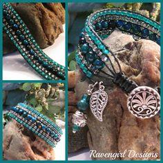 """Azure & Teall"" 5 Row Leather Wrap Bracelet by Ravengirl Designs https://www.Facebook.com/RavengirlDesigns"
