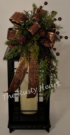 Christmas Lantern Swag with Bronze by TheRustyHeart on Etsy