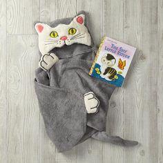 Shy Little Kitten Hooded Towel Bath Set  | The Land of Nod