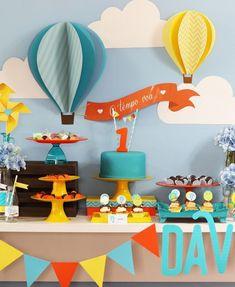 Kit Digital para mesa - Festa Balão Menino - loja online 1 Year Old Birthday Party, Baby Boy 1st Birthday, First Birthday Parties, First Birthdays, Balloon Birthday Themes, Decoracion Baby Shower Niña, Simple Birthday Decorations, Sunshine Birthday, Lucca