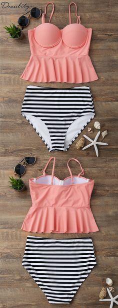 dd6317b4575c2 46% OFF. High Waisted Striped Peplum Tankini Set. #dresslily #tankini Summer