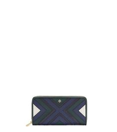 PATCHWORK ZIP CONTINENTAL WALLET, jitney green (blue white) $235, sale $164.50 | Tory Burch